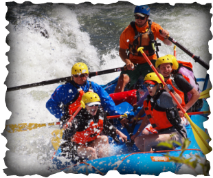Running the rapids on a full-day rafting trip on the rogue river.